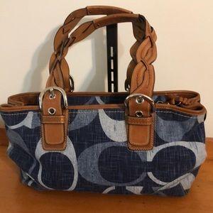 COACH denim signature leather trim bag